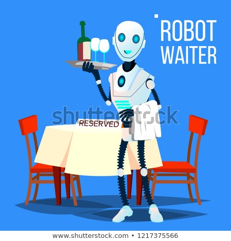 Robot garson tepsi içecekler vektör Stok fotoğraf © pikepicture