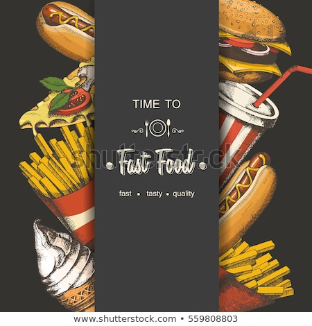 pizza · sándwich · hamburguesa · chips · aperitivo · establecer - foto stock © robuart