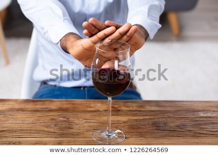 Uomo no gesto vetro vino Foto d'archivio © AndreyPopov
