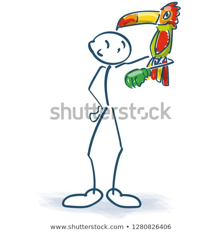 Stick figure with a parrot on his arm Stock photo © Ustofre9