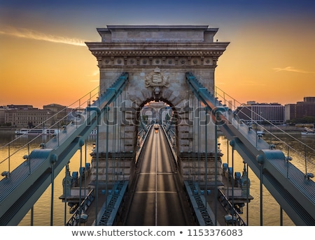 cadeia · ponte · linha · do · horizonte · praga · Budapeste · noite - foto stock © givaga