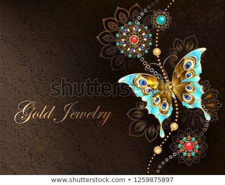 Kahverengi turkuaz kelebek takı Stok fotoğraf © blackmoon979