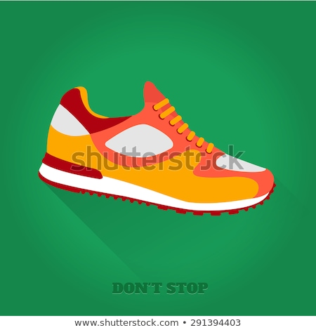 fitness sneakers shoes for training running shoe flat design with long shadow stock photo © marysan
