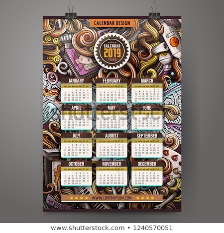 cartoon · kapsalon · jaar · kalender · kleurrijk - stockfoto © balabolka