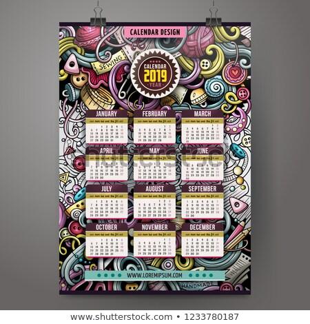 Cartoon colorful hand drawn doodles Handmade 2019 year calendar Stock photo © balabolka
