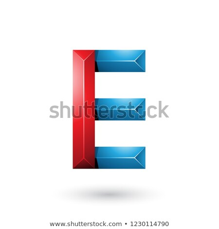 Red and Blue Pyramid Like Geometrical Letter E Vector Illustrati Stock photo © cidepix