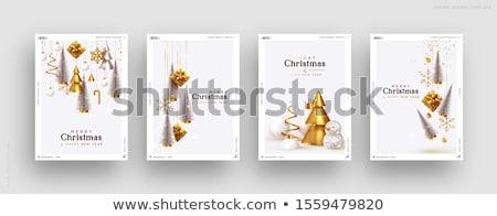 Weihnachten Gold glitter Kiefer Grußkarte heiter Stock foto © cienpies