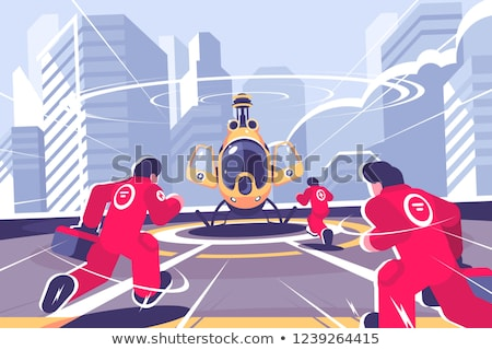 Yellow rescue helicopter and team flat poster Stock photo © jossdiim