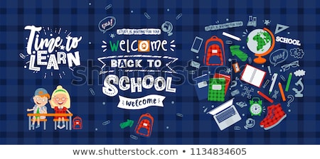 Back to School Posters with Pupils Backpacks Set Stock photo © robuart