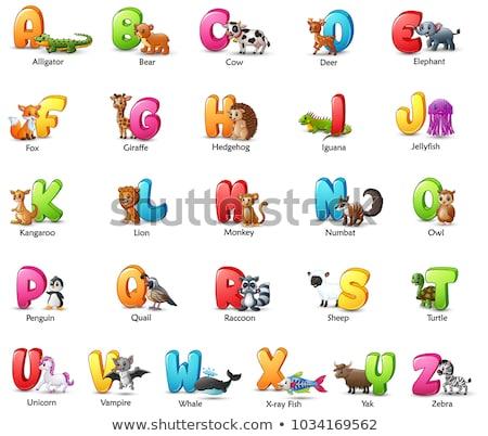 Letter I for iguana cartoon alphabet for children Stock photo © robuart