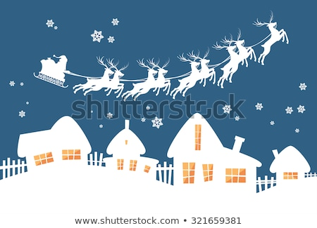 Stock photo: Santa and Reindeers Over a Blue Background Vector Illustration