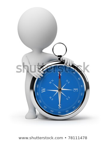 Stock photo: 3d Small People - Compass