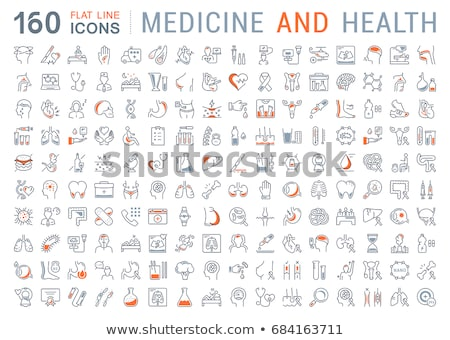 anatomy of the human body line icons set stock photo © voysla
