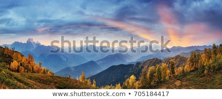 ősz tájkép Kaukázus hegyek Grúzia hegy Stock fotó © Kotenko