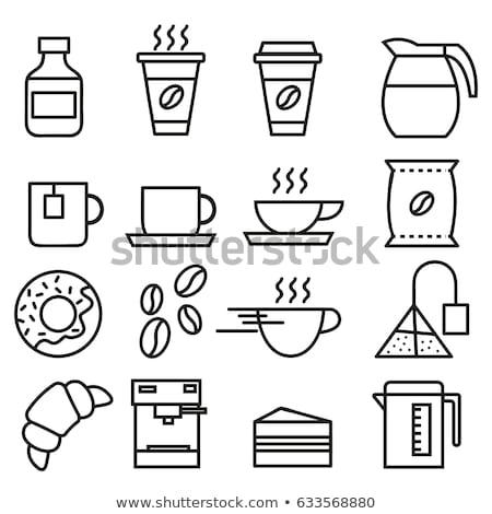 Café ícone linha vetor design de logotipo símbolo Foto stock © blaskorizov