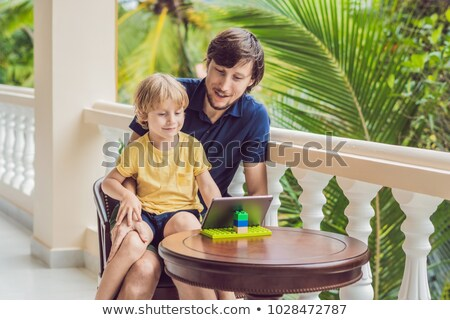 父から息子 熱帯 話し 友達 家族 ビデオ ストックフォト © galitskaya
