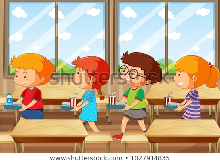 Four kids with food tray in canteen Stock photo © colematt