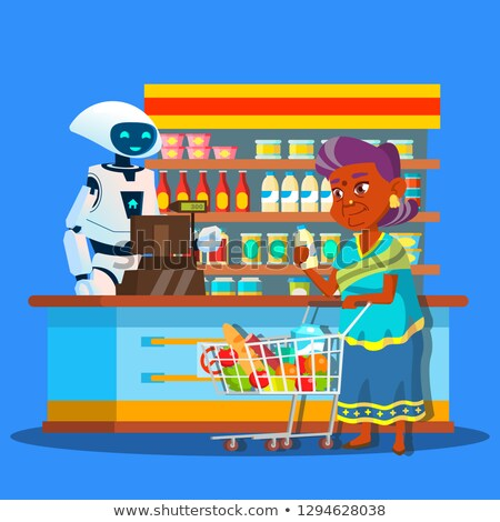 Root Seller In Store With Buyer Near Cashier Vector. Isolated Illustration Stock photo © pikepicture