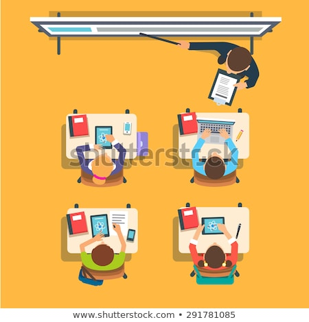 Teacher standing and pointing and student sitting at the desks vector illustration. Stock photo © RAStudio