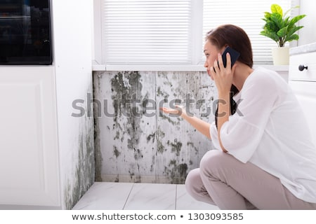 woman calling for assistance near damaged wall stock photo © andreypopov