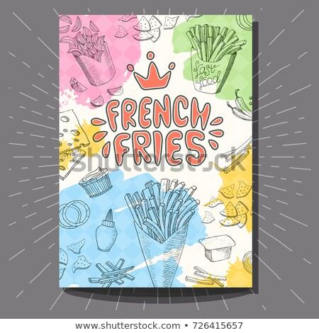 Kleur vintage fast food banner ontwerpsjabloon hand Stockfoto © netkov1