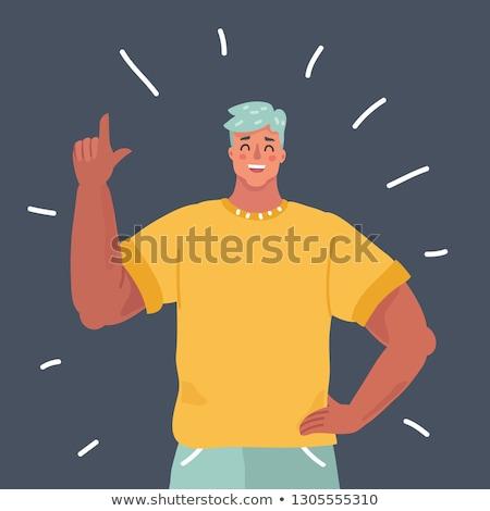 businessman smile index finger up gesture isolate on white background stock photo © studiostoks