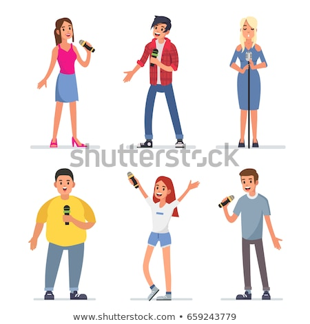 karaoke party people singing song on stage vector stock photo © robuart