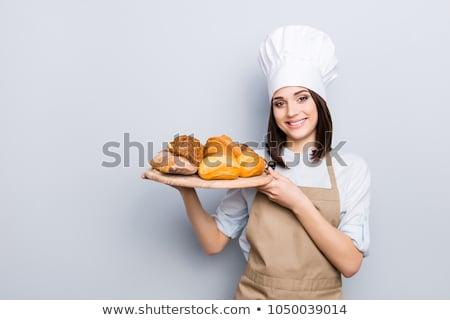 Сток-фото: молодые · женщины · Бейкер · изолированный · белый · продовольствие