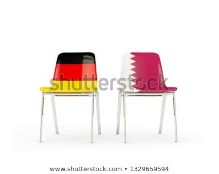 Iki sandalye bayraklar Almanya Katar yalıtılmış Stok fotoğraf © MikhailMishchenko