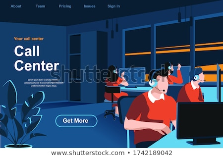 Call center isometric 3D banner header. Stock photo © RAStudio