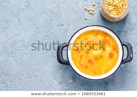 Minted, ham and pea cream soup  Stock photo © zoryanchik