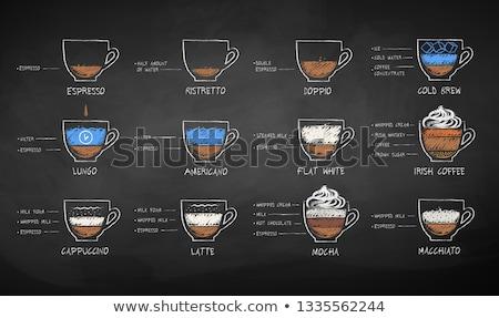 チョーク 黒白 スケッチ コーヒー ベクトル ストックフォト © Sonya_illustrations