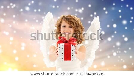 Tinilány angyalszárnyak hó ünnepek karácsony emberek Stock fotó © dolgachov