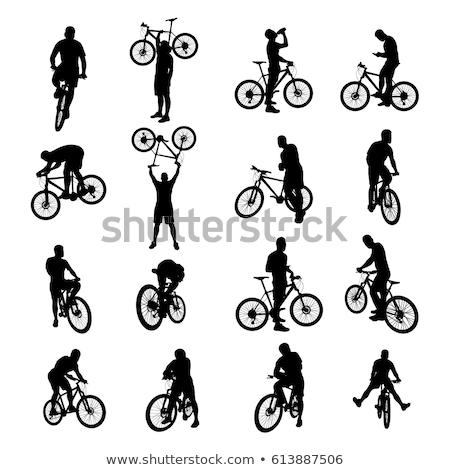 férfi · lovaglás · bicikli · park · kerékpáros · bicikli - stock fotó © genestro