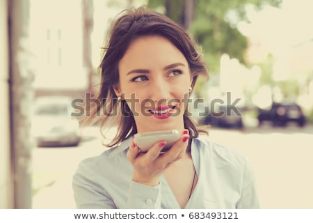 Mulher voz reconhecimento função telefone móvel Foto stock © AndreyPopov