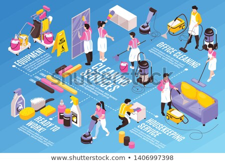 Character People Sweep And Equipment Set Vector Stock photo © pikepicture