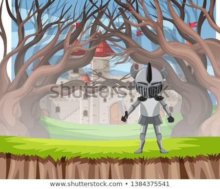 Caballero armadura madera escena ilustración fondo Foto stock © bluering