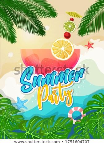 Vector zomer strand partij flyer ontwerp Stockfoto © articular