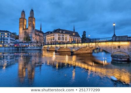 Stockfoto: Kerk · Zürich · protestants · Zwitserland · een · drie