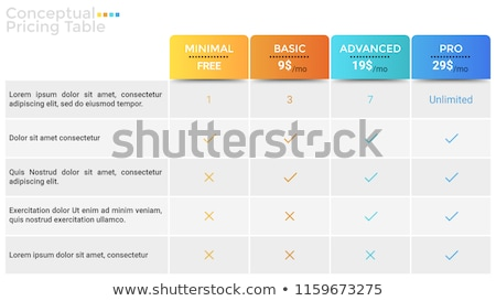 продукции свойства список таблице шаблон услугами Сток-фото © orson