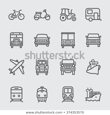 Agrarisch vracht vrachtwagen vector dun lijn Stockfoto © pikepicture