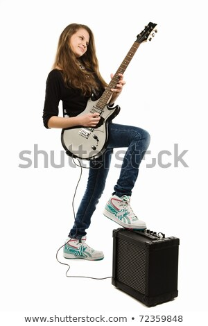 Young girl guitar player with an electric guitar Stock photo © Giulio_Fornasar