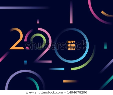 Happy New Year 2020 logo design with colorful geometric numbers  Stock photo © ussr
