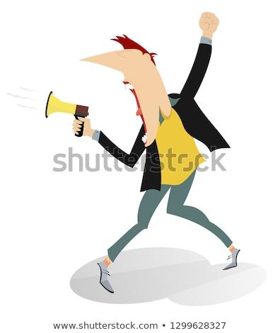 Man screams to megaphone and raises fist up illustration Stock photo © tiKkraf69