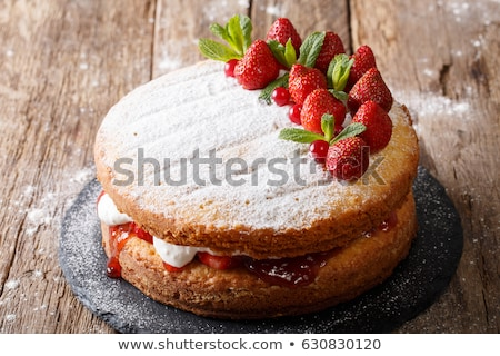 Victoria sponge cake with strawberries Stock photo © danielgilbey