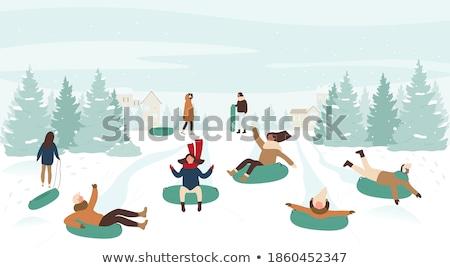 Jonge man paardrijden slee landschap man sneeuw Stockfoto © monkey_business