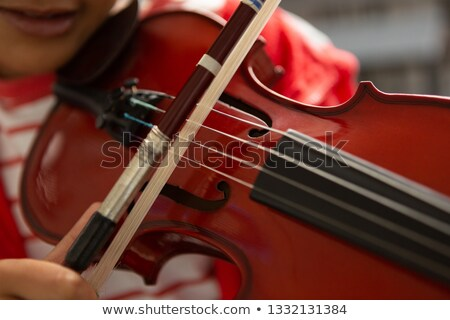 Close-up of mixed-race schoolboy playing violin in classroom at elementary school Stock photo © wavebreak_media