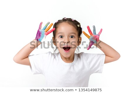 A little asian girl with paint on it isolate on white Stock photo © Lopolo