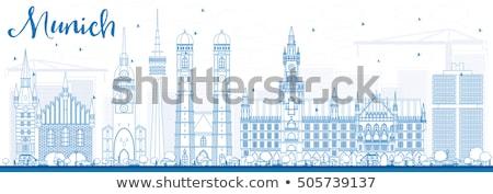 Outline Munich Skyline with Blue Buildings. Stock photo © ShustrikS