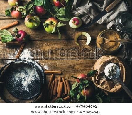 apple pie in baking mold on wooden table Stock photo © dolgachov
